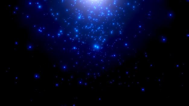 모션 블루 입자와 은하계의 별, 추상적 인 배경. 코스모스 및 휴일 템플릿에 대한 우아하고 고급스러운 3d 그림 스타일
