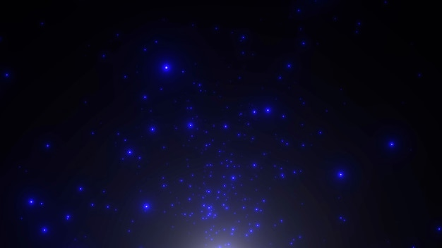 Motion blue particles and stars in galaxy, abstract background