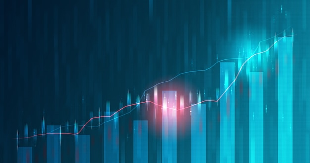 Motion blur of market chart and business futuristic stock graph or investment financial data profit on growth money diagram background with exchange information. 3d rendering.