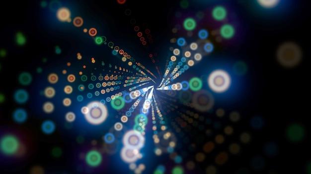 カラフルなドットパターン、抽象的な背景の動き。エレガントでダイナミックなネオンスタイル、3dイラスト