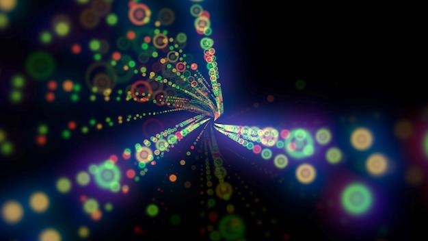 モーションカラフルなドットパターン、抽象的な背景。エレガントでダイナミックなネオンスタイル、3dイラスト