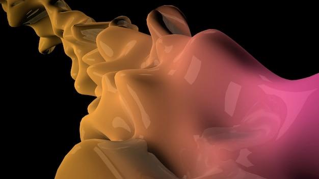 모션 어두운 노란색 액체 미래 모양, 추상적인 기하학적 배경. 비즈니스 및 기업 템플릿에 대한 우아하고 고급스러운 3d 그림 스타일
