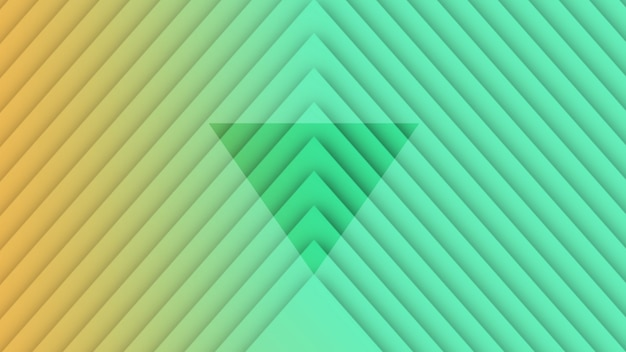 Motion geometric gradient hypnosis green and yellow triangles, retro abstract background. elegant and luxury 3d illustration style for business and corporate template