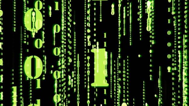 Motion graphic случайного числа двоичных чисел случайных зеленых частиц, падающих с матрицей effec