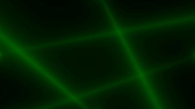 Движение зеленых светящихся лучей прожектора на темном фоне в сцене. элегантный и роскошный стиль 3d иллюстрации для клуба и развлекательного шаблона