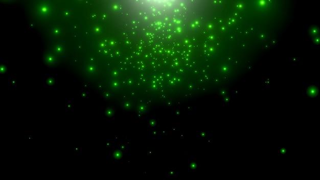 모션 녹색 입자와 은하계의 별, 추상적 인 배경. 코스모스 및 휴일 템플릿에 대한 우아하고 고급스러운 3d 그림 스타일
