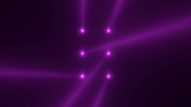 Движение фиолетовые светящиеся лучи прожектора на темном фоне в сцене. элегантный и роскошный стиль 3d иллюстрации для клуба и развлекательного шаблона