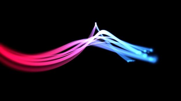 Движение красные и синие линии, абстрактный фон. элегантный динамичный неоновый стиль, 3d иллюстрация