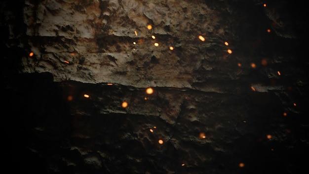 Движение дыма и золотые частицы на стене гранж, темный кинематографический фон. роскошная и элегантная 3d иллюстрация темы кино