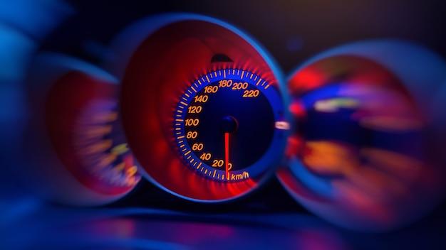 車のモーションスピードメーターのクローズアップ