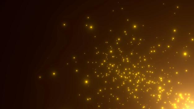 모션 노란색 입자와 은하계의 별, 추상적 인 배경. 코스모스 및 휴일 템플릿에 대한 우아하고 고급스러운 3d 그림 스타일