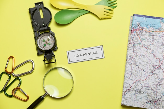 Motivating writing near map and tourist supplies