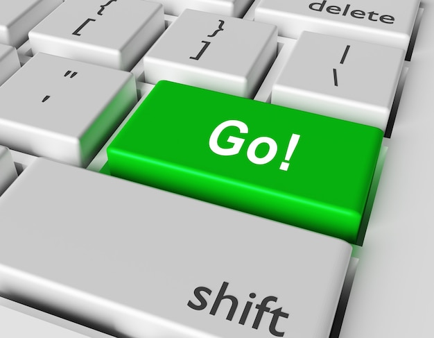 Motivation concept. word go! you on button of computer keyboard