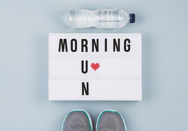 Motivation text on light box morning run