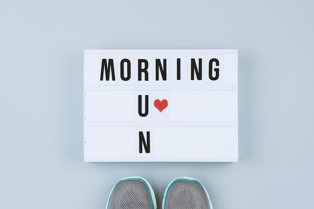 Motivation text on light box morning run