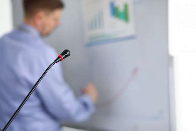 Motivational classroom training with microphone.