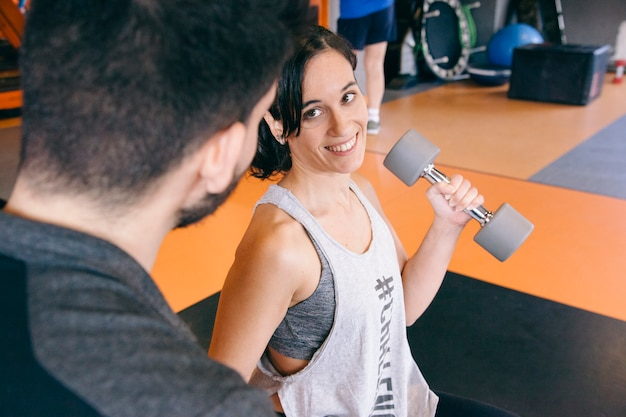 Motivational first day of personal trainer class for women