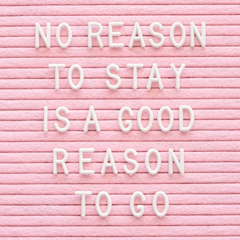 Motivational message on pink background