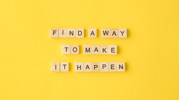 Мотивационный текст на желтом фоне