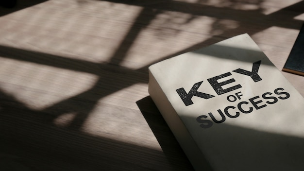 Motivational wordings - 'key of success'  with blurred background