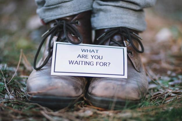 Motivational writing on crop feet