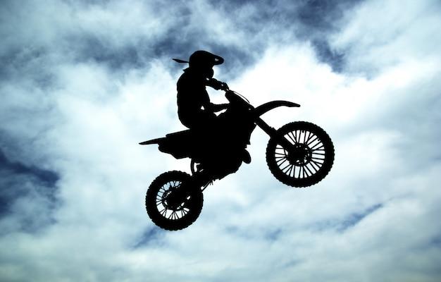Moto racer in sky