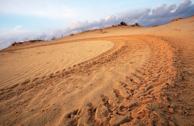 Мотокросс и автоспорт на фоне голубого неба. колесные следы на песке