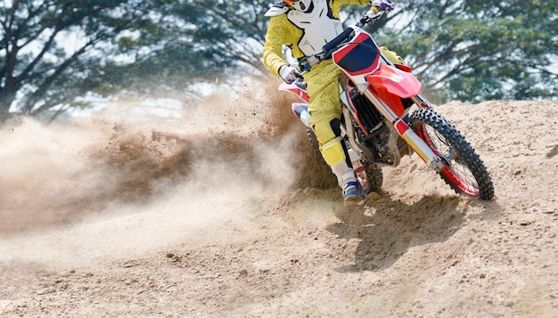 Motocross speed in track.