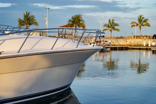 Моторная лодка пришвартована к тропической пристани для яхт с пальмой и голубым небом, концепция путешествия и отдыха