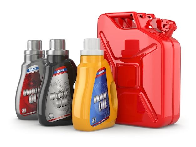 ガソリンまたはガスのモーターオイルキャニスターとジェリカン。 3d