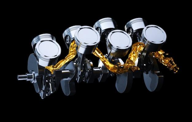 Motor parts as crankshaft, pistons with motor oil splash