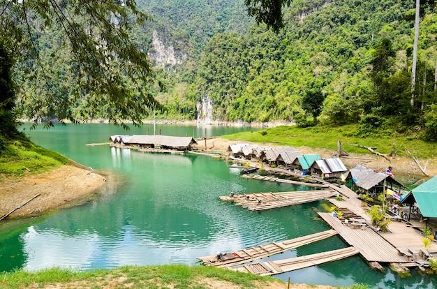 Motor raft wharf in ratchaprapha dam at khao sok national park, surat thani, thailand
