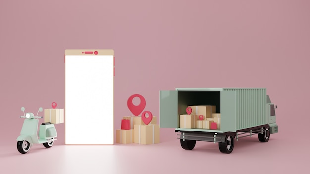 Motorbike and delivery truck with smartphone on pink background