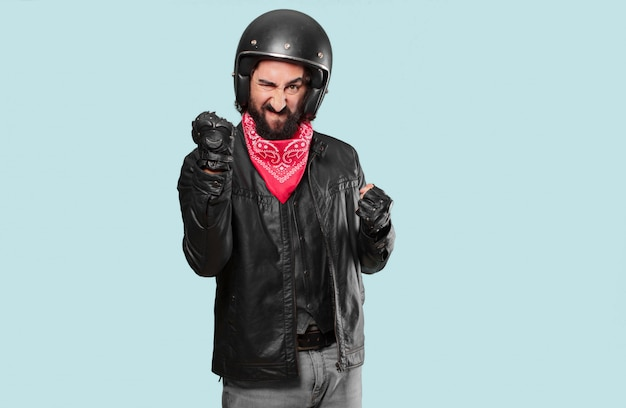 Motorbike rider angry or disagree expression