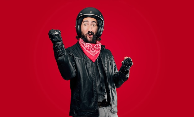 Motorbike rider celebrating a victory