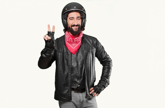 Motorbike rider countdown with his fingers
