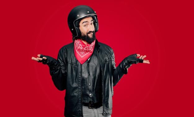 Motorbike rider doubting confused