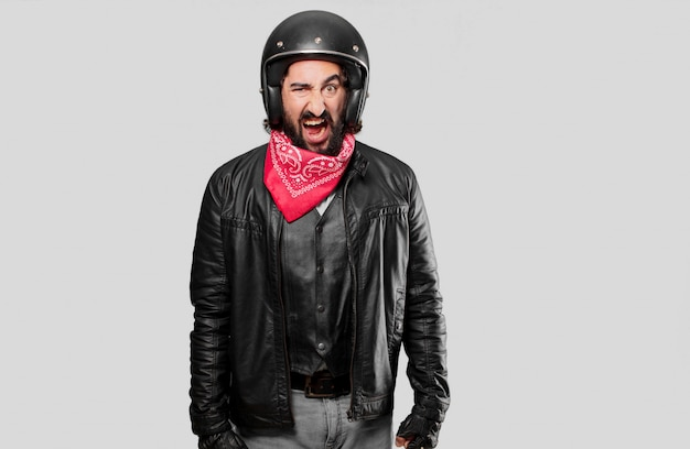 Motorbike rider shouting and angry