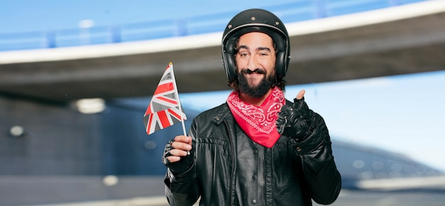 Motorbike rider with england flag