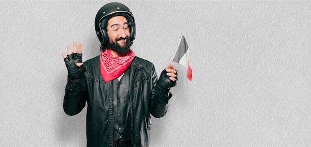 Motorbike rider with a france flag