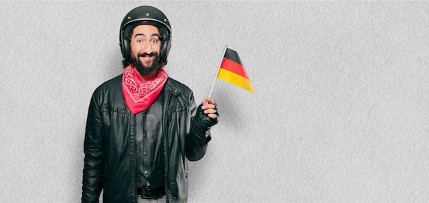 Motorbike rider with germany flag