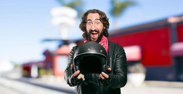 Motorbike rider with a helmet