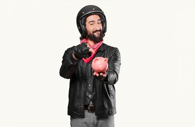 Motorbike rider with a piggybank