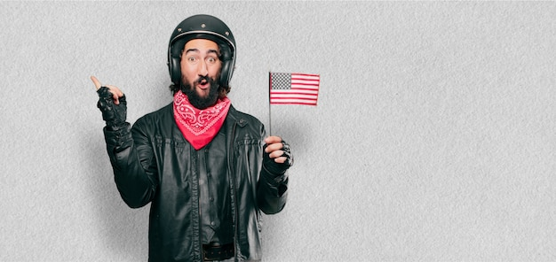 Motorbike rider with an usa flag