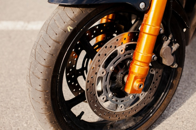 Motorbike wheel in closeup view