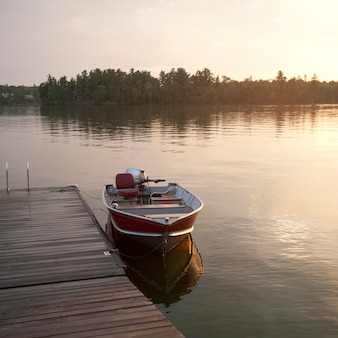 Motorboat at the dock in lake of the woods, ontario