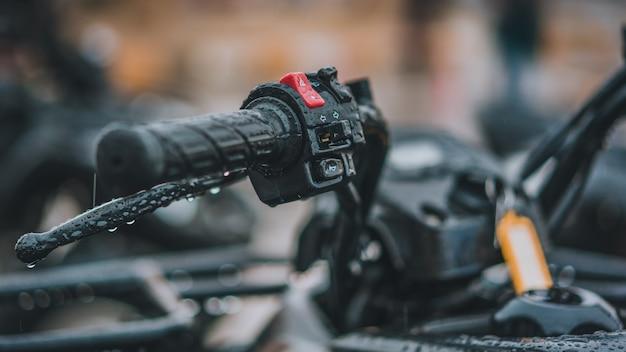 Motorcycle black rubber handlebar grips