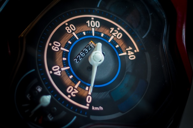 Motorcycle control panel with speedometer during engine start