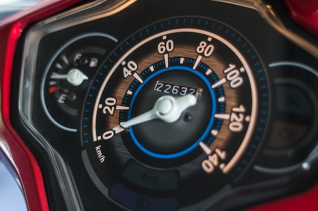 Motorcycle control panel with speedometer and fuel gauge