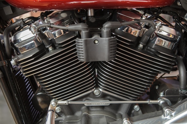 A motorcycle engine close up